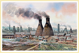 A pottery skyline a more traditional picture of the potteries - click for details