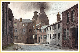 A Royal Pottery, a typical picture of the potteries - click for details